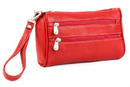 Le Donne Leather LD-9300  Two Zip Wristlet Clutch