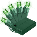 Winterland BAT-50MMGR-4G ; 5MM Chonical Battery Operated LED Green 50 count lights set