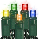 Winterland C-25MM5M-6G 25 Count Commercial Grade Conical 5MM Multi Colored LEDs On Green Wire