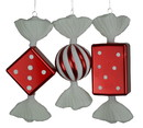 LEDgen ORN-CDY-08-AST-3PK 3 PACK RED & WHITE CANDY ORNAMENTS
