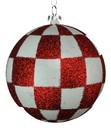 LEDgen ORN-CHKR-BALL-80-CDY 80MM WHITE & RED CHECKER BALL ORNAMENT