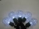 Winterland S-10G40TNPW-12G G40, Silver Tinsel, 10 Pure White 5MM LEDs, Green Wire, Stackable Plug