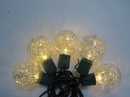 Winterland S-10G40TNWW-12G G40, Gold Tinsel, 10 Warm White 5MM LEDs, Green Wire, Stackable Plug
