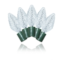 Winterland S-25C9PW-8G 25 Count Standard Grade Facitied C9 Pure White LED Light Set With In-Line Rectifer On Green Wire