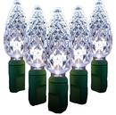 Winterland S-35C6PW-6G 35 Count Standard Grade Facitied C6 Pure White LED Light Set With In-Line Rectifer On Green Wire