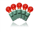 Winterland S-35G12RE-4G - 35 Count Standard Grade facitied G12 Red LED Light Set with in-line rectifer on Green Wire