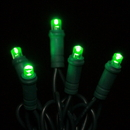 Winterland S-35MMGR-4G - 35 Count Standard Grade 5MM Conical Green LED Light Set with in-line rectifer on Green Wire