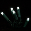 Winterland S-35MMPW-4G - 35 Count Standard Grade 5MM Conical Pure White LED Light Set with in-line rectifer on Green Wire
