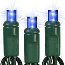 Winterland S-50MMBL-6G5T 50 Count Standard Grade Twinkle 5MM Conical Blue LED Light Set With In-Line Rectifer On Green Wire