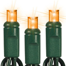 Winterland S-50MMOR-6G Standard 5MM Conical, LED, Amber, 50 Lights, Green Wire, 5.5