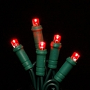 Winterland S-50MMRE-6G - 50 Count Standard Grade 5MM Conical Red LED Light Set with in-line rectifer on Green Wire