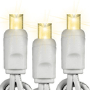 Winterland S-50MMWW-4W 50 Count Standard Grade 5MM Conical Warm White LED Light Set With In-Line Rectifer On White Wire