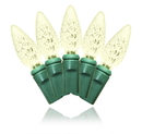 Winterland S-60C6WW-4G - 60 Count Standard Grade C6 Faceted Warm White Led Light Set With In-Line Rectifer On Green Wire