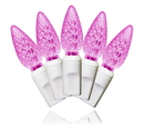 Winterland S-70C6PI-4W - 70 Count Standard Grade C6 Faceted Pink Led Light Set With In-Line Rectifer On White Wire
