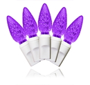 Winterland S-70C6PU-4W - 70 Count Standard Grade C6 Faceted Purple Led Light Set With In-Line Rectifer On White Wire