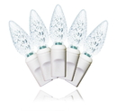 Winterland S-70C6PW-4W 70 Count Standard Grade C6 Facitied Pure White LED Light Set With In-Line Rectifer On White Wire