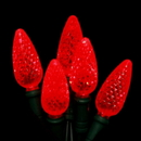 Winterland S-70C6RE-4G - 70 Count Standard Grade C6 Facitied Red LED Light Set with in-line rectifer on Green Wire