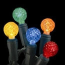 Winterland S-70G124M-4G - 70 Count Standard Grade G12 Facitied Multi Colored LED Light Set with in-line rectifer on Green Wire