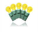 Winterland S-70G12YE-4G 70 Count Standard Grade G12 Facitied Yellow LED Light Set With In-Line Rectifer On Green Wire