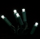 Winterland S-70MMPW-4G - Standard 5MM 70 Count Standard Grade 5MM Conical Pure White LED Light Set with in-line rectifer on Green Wire