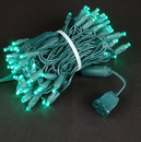 Winterland S-70MMTL-4G 70 Count Standard Grade 5MM Conical Teal LED Light Set With In-Line Rectifer On Green Wire