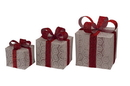 LEDgen WL-3PK-GIFTS-WHSV 3 Piece Lighted Gift Box Set, White with Silver Ribbon and Bow, Warm White LEDs