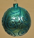 Winterland WL-BALL-120-AQ 120MM Aqua Ornament Ball With Aqua Glitter Design