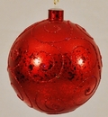 Winterland WL-BALL-120-RE 120MM Red Ornament Ball With Red Glitter Design