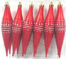 LEDgen WL-FIN-12PK-DOT-RS - Red And Silver Finial Ornament With Dot Design 12Pk