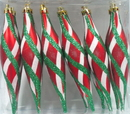 Winterland WL-FIN-12PK-RWG - Red White And Green Finial Ornament With Design 12Pk