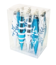 Winterland WL-FIN-12PK-SFLN-AW - Aqua And White Finial Ornament With Snowflake And Line Glitter Design