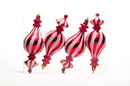 Winterland WL-FIN-4PK-RW 4pk Red and White Finial Candy Ornament Set
