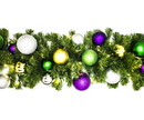 Winterland WL-GARBM-09-MARDI-LWW 9' Pre-Lit Warm White LED Blended Pine Garland Decorated With The Mardi Gras Ornament Collection