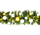 Winterland WL-GARBM-09-TREAS-LWW - 9' Pre-Lit Warm White Led Blended Pine Garland Decorated With The Treasure Ornament Collection