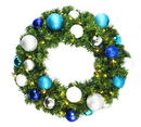 Winterland WL-GWSQ-02-ARTIC-LWW 2' Sequoia Wreath Decorated with The Arctic Ornament Collection Pre-Lit Warm White LEDS