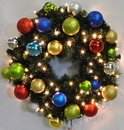 Winterland WL-GWSQ-02-FIESTA-LWW 2' Pre-Lit Warm White LED Sequoia Wreath Decorated With The Fiesta Ornament Collection