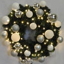 Winterland WL-GWSQ-02-ICE-LWW 2' Pre-Lit Warm White LED Sequoia Wreath Decorated With The Ice Ornament Collection