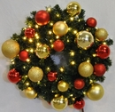 Winterland WL-GWSQ-02-RG-LWW 2' Pre-Lit Warm White LED Sequoia Wreath Decorated With Red And Gold Ornament Collection