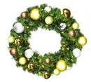 Winterland WL-GWSQ-02-WOOD-LWW 2' Pre-Lit Warm White LED Sequoia Wreath Decorated With The Woodland Ornament Collection