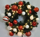 Winterland WL-GWSQ-04-CDY-LWW 4' Pre-Lit Warm White LED Sequoia Wreath Decorated With The Candy Ornament Collection