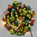 Winterland WL-GWSQ-04-TROP-LWW 4' Pre-Lit Warm White LED Sequoia Wreath Decorated With The Tropical Ornament Collection