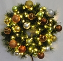 Winterland WL-GWSQ-04-WOOD-LWW 4' Pre-Lit Warm White LED Sequoia Wreath Decorated With The Woodland Ornament Collection