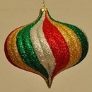 Winterland WL-ONION-150-GRGS 6In Onion Ornament With Green, Red, Gold, And Silver Glitter Accents