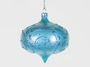 Winterland WL-ONION-80-AQ 3In Matte Aqua Onion Ornament With Aqua Glitter Accents