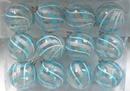 Winterland WL-ORN-12PK-CL-ASW - Clear Ball Ornament With Aqua, Silver And White Swirls Design 12Pk