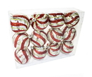 Winterland WL-ORN-12PK-CL-GSR - Clear Ball Ornament With Red, Silver And Green Swirl Design 12Pk