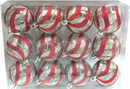 Winterland WL-ORN-12PK-CL-RSG - Clear Ball Ornament With Red, Silver And Gold Swirl Design 12Pk