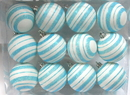 Winterland WL-ORN-12PK-LN-AQ - Aqua And White Ball Ornament With Line Design 12 Pack