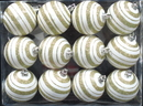 Winterland WL-ORN-12PK-LN-GO - Gold And White Ball Ornament With Line Design 12 Pack