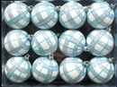 Winterland WL-ORN-12PK-PLD-AQ - White Ball Ornament With Aqua And Silver Plaid Design 12Pk